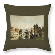 A Sunlit Canal With A Draw Throw Pillow