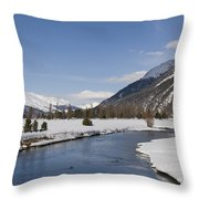 A Sunny Winter Scene In The Swiss Alps Throw Pillow