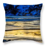 A Sunset In A River Of Ice Throw Pillow