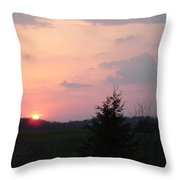 A Sunset  With Sun On The Horizon  Throw Pillow