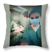 A Surgeon Taking Selfie  Throw Pillow