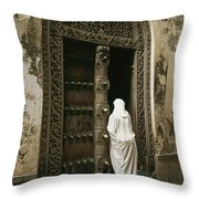 A Swahili Woman Enters A Building Throw Pillow