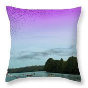 A Swarm Of Bats Fly Out From Underneath The Ann Richards Congress Avenue Bridge At Sundown Throw Pillow