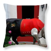 A Swiss Cow In New Glarus Wi Throw Pillow