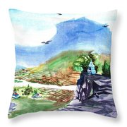 A Temple With A Mountain And Fields In The Background Throw Pillow