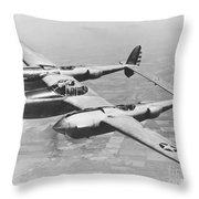 A Test Flight Of The Yp-38 Service Test Throw Pillow
