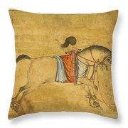 A Tethered Stallion Throw Pillow