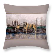 A Thirsty Horse 1 Throw Pillow