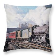 A 'thompson' B1 Class Moving Empty Stock On A Cold February Morning Throw Pillow by David Nolan