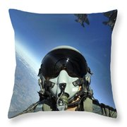 A Three-ship Formation Of F-15e Strike Throw Pillow