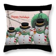 A Three Snowman Holiday Throw Pillow