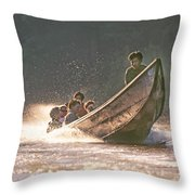 A Tigertail Boat On The Ping River Throw Pillow