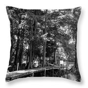 A Time To Go Fishing Bw Throw Pillow