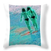 A Topless Stroll Throw Pillow