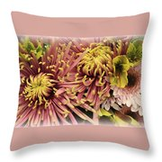 A Touch Of Yellow On Pink Mums Throw Pillow