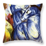 A Tower Of Blue Horses Throw Pillow