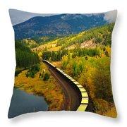 A Train Of Golden Grain  Throw Pillow
