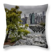 A Tree Grows In Brooklyn Looking At Manhattan Throw Pillow