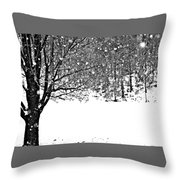 A Tree In Snowy Winter Throw Pillow