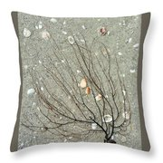 A Tree On The Beach - Sea Weed And Shells Throw Pillow