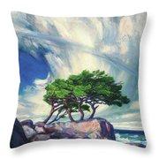 A Tree On The Seashore Reef Throw Pillow