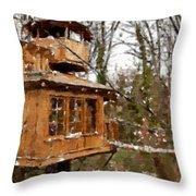 A Treehouse For All Seasons Throw Pillow