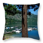 A Trees View Of Fallen Leaf Lake Throw Pillow