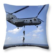 A Trio Of Marines Fast Rope Throw Pillow