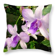 A Trio Of Pale Purple Orchids Throw Pillow
