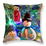 A Trio Of Snowmen Throw Pillow