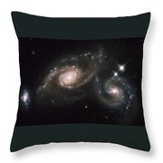 A Triplet Of Galaxies Known As Arp 274 Throw Pillow by Stocktrek Images