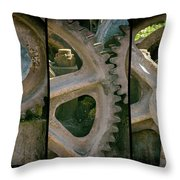 A Triptych Of Old Gears Throw Pillow