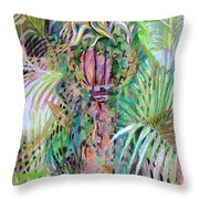 A Tropical Basket On A Post Throw Pillow