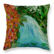 A Tropical Waterfall Throw Pillow