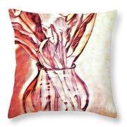 A Tulip Bouquet Throw Pillow