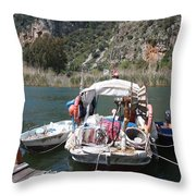 A Turkish Fishing Boat On The Dalyan River Throw Pillow