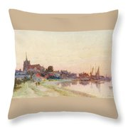 A Twighlight Harbour Scene Throw Pillow