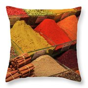 A Typical Set Of Shops In Istanbul Spice Market Throw Pillow