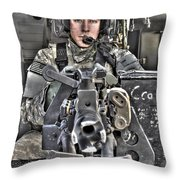 A Uh-60 Black Hawk Door Gunner Manning Throw Pillow by Terry Moore