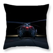 A Uh-60 Black Hawk Helicopter Lit Throw Pillow