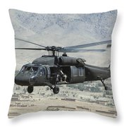 A Uh-60 Blackhawk Helicopter Throw Pillow