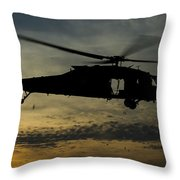 A U.s. Army Uh-60 Black Hawk Leaves Throw Pillow