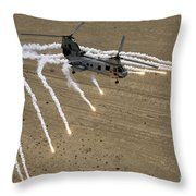 A U.s. Marine Corps Ch-46 Sea Knight Throw Pillow