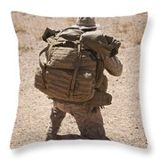 A U.s. Marine Pulls Security While Throw Pillow