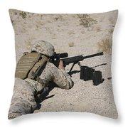 A U.s. Marine Zeros His M107 Sniper Throw Pillow by Stocktrek Images