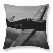 A Us Navy Hellcat Fighter Aircraft In Flight Throw Pillow