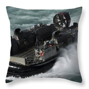 A U.s. Navy Landing Craft Air Cushion Throw Pillow