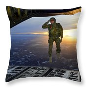 A U.s. Soldier Salutes His Fellow Throw Pillow