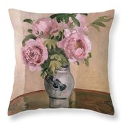 A Vase Of Peonies Throw Pillow by Camille Pissarro