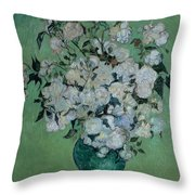 A Vase Of Roses Throw Pillow
